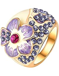 Yiwu Crystal PURPLE 18K ROSE GOLD METAL RING Fashion Jewellery For WOMEN
