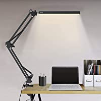 Lampe De Bureau Led Puissante Flexible Secteur Avec Pince,Elekin Lampe De Bureau Led Rechargeable Par USB Dimmable Noire…