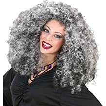 NET TOYS Parrucca da strega capelli crespi lunghi brizzolati grigi neri  vampira maga carnevale Halloween 849fa2e39917