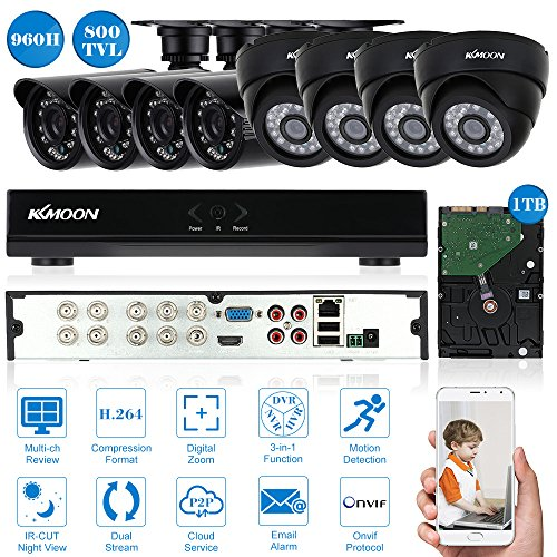 KKMOON 8CH 960H/D1 800TVL CCTV Sorveglianza DVR