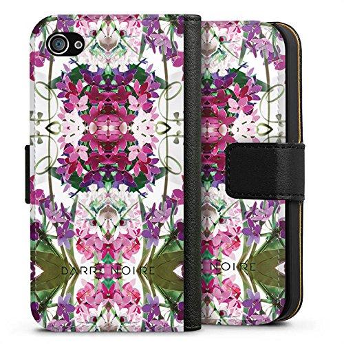 Apple iPhone X Silikon Hülle Case Schutzhülle Blumen Blumenmuster Muster Sideflip Tasche schwarz