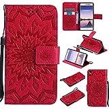 Guran® PU Leder Tasche Etui für Huawei Ascend P7 (5 Zoll) Smartphone Flip Cover Stand Hülle und Karte Slot Case-rote