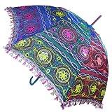 indischerbasar.de Sonnenschirm 85 cm bunte Stickereien Mehrfarbig Bunt Baumwolle Spiegel Spitzenborte Schirm Accessoire