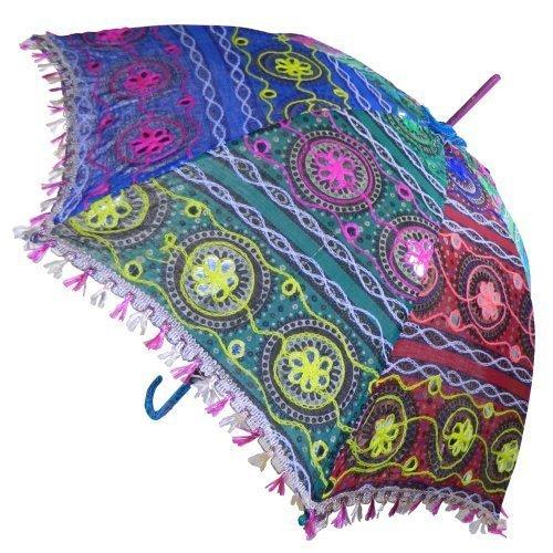 Sonnenschirm 85 cm bunte Stickereien Mehrfarbig Bunt Baumwolle Spiegel Spitzenborte Schirm Accessoire