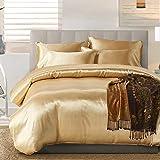 HYSENM Parure de lit Satin Lisse Housse de Couette avec Taie d'oreiller Confortable Soyeux Brillant Doux au Toucher, Champagn