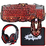 Gaming Keyboard and Mouse Combo with Headset, MFTEK LED Backlit Keyboard, USB Wired