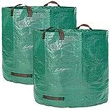 GloryTec XXLGartensäcke 2x 500l - Premium Gartensack-Set | Stabile XXL Gartenabfallsäcke aus extrem robustem Polypropylen-Gewebe (PP) 150gsm | Selbststehende und faltbare Laubsäcke