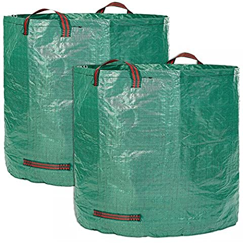 Garment bag XXL - 2 professional garden waste bags - 500 liters each with double robust bottom - Laubsack - Self-contained premium