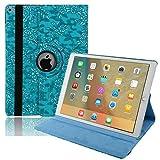 iPad 3 Hülle, TechCode 360 Grad Rotation Stand PU Ledertasche Schützende Flip Folio Abnehmbar Weiche Gummi Abdeckung Hülle für Apple iPad 2/3/4 (iPad 2/3/4, Blau)