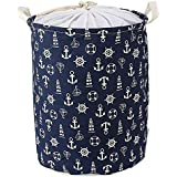 HOKIPO® Laundry Basket 46-Litre European Pattern Folding Round Anchor Design Laundry Hamper with Drawstring Closure.(Blue)