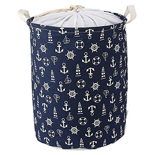 HOKIPO Cotton 46 L Blue Laundry Basket