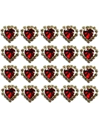Jewellery of Lords 20 Red Heart Shaped Large Coloured Crystal Hair Pin with Clear Mounted Crystals Hairpin