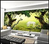 WH-PORP Benutzerdefinierte 3D Tapete für Wände 3D Schöne grüne Bäume Pferd frische Landschaft handgemalte Hintergrund Wand dekorative Malerei-128cmX100cm