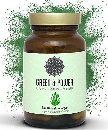 Spirulina Chlorella Kelp Kapseln I Bio I Vegan I 180 Stück I Green & Power - Superfood Algen Mix Für Dein Immunsystem I Mit Acerola I Hochdosiert
