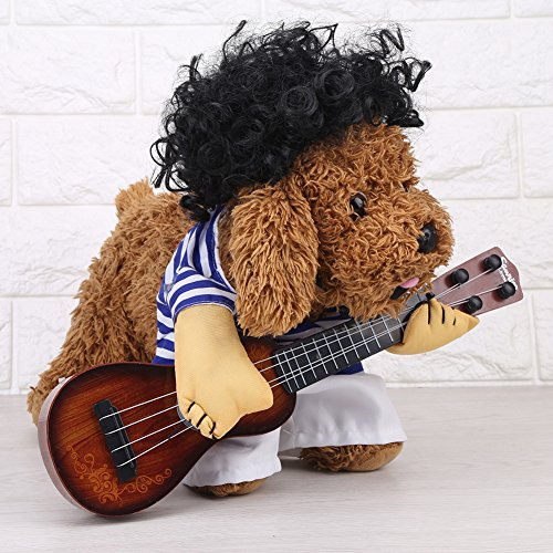 idung Hund Katze Lustige Gitarrist Stil Kostüm Haustieranzug in Premium Baumwolle(XL) (Beste Mops Halloween Kostüme)