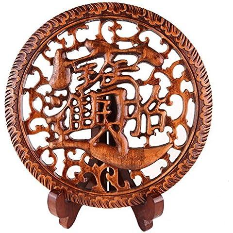 ideogramme cinese in legno Scolpisce–Decorazione asiatica–Simbolismo fortuna