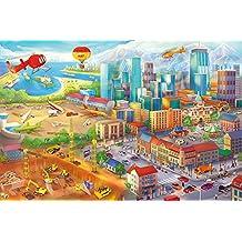 Poster Camera dei bambini comic style Decorazioni pareti Quadro degli oggetti nascosti Metropoli Cantiere Elicottero Aereo Ruspa Aeroporto | Poster da parete Fotomurales by GREAT ART (140 x 100 cm)