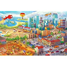 Póster habitación infantil estilo comicó – imagen mural decoración Wimmel Metropolo Construcción Helicóptero Aviónes Excavadora Aeropuert | foto póster mural deco pared by GREAT ART (140 x 100 cm)