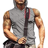 Mens Tank Tops Gym with Hood Pocket Gym Hoodie Workout Sleeveless Muscle Shirt