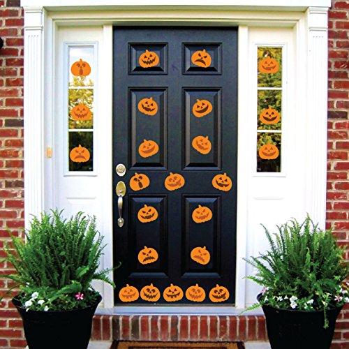 Innovative Stencils Halloween-Kürbis Jack O'Lantern Party-Dekorationen, Wandaufkleber, Fenster-Dekoration, gruselig, abnehmbar und wiederverwendbar 24 Decals Each 6