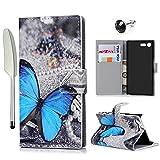 YOKIRIN Sony Xperia X Compact Flip Hülle Wallet Case Kunstleder PU Leder Hardcase Bookcase Hart PC Schutzhülle Brieftasche Handyhülle Tasche Karteninhaber Kippständer Magnetverschluss Schmetterling