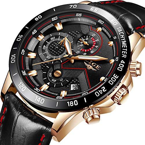 Orologio da uomo,lige cronografo impermeabile sportivo militari analogico al quarzo orologi gents cinturino in pelle quadrante nero data moda casual lusso orologi da polso rosa oro nero