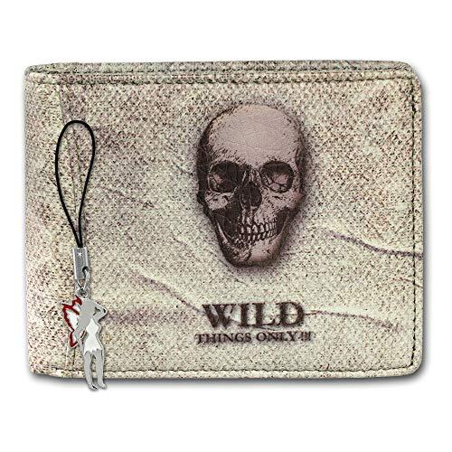 SilberDream Geldbörse Wild Things only! Leder weiß marmoriert Portemonnaie mit Totenkopf Motiv OPJ107W, ohne, Beige -