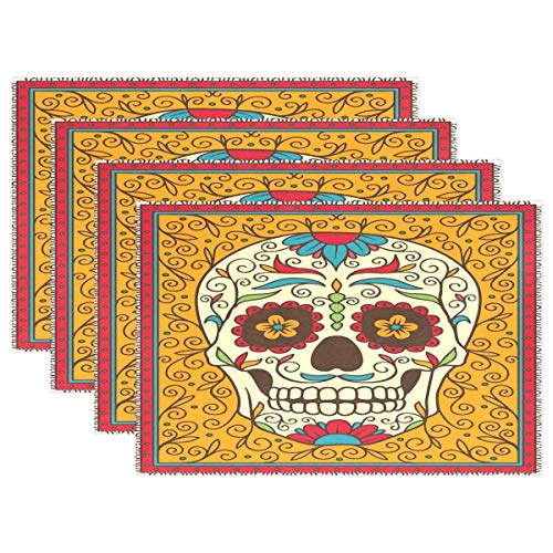 GOODSTHING Tischset, Mexican Floral Sugar Skull Yellow Placemat Table Mat 12