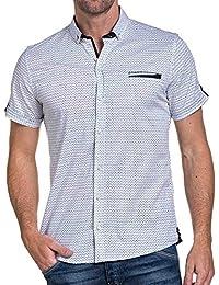 BLZ jeans - Chemisette homme blanche à motifs fausse poche poitrine