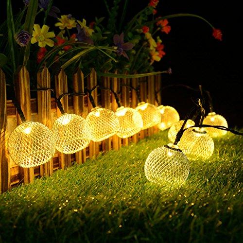Solar Lichterkette,Kondisco 20er LED 5 Meter Solar Lichterkette Wasserfest Garten Außen Weihnachten Dekoration für Garten,Terrasse,Geburtstag,Haus,Party,Weihnachtsbaum,Weihnachten Party.