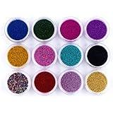 12 Boxes Nail Art Beads 3D Colorful Mini Beads Pearls Caviar Nail Art Pearl for DIY Nail Art Decorations(Random Color)