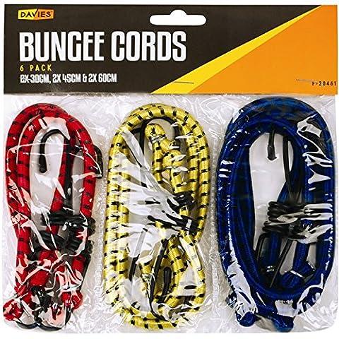 Luggage Straps 6 piece set 2 x 30cm, 2 x 45cm, 2 x 60cm by Lifetime Tools BUNGEE CORD - ELASTIC