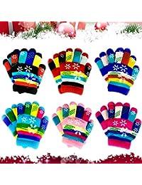 6 pares de guantes elásticos para niños con dedos completos, guantes de invierno cálidos para niños y niñas, guantes infantiles con dedos completos (copo de nieve)