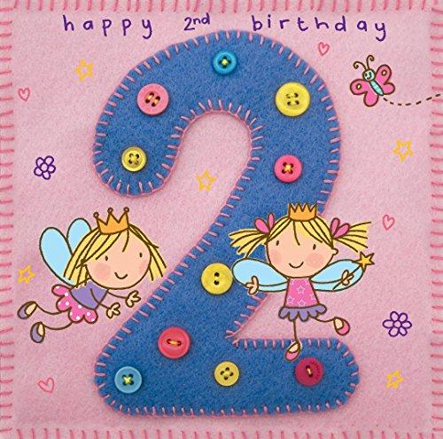twizler 2nd Birthday für Mädchen mit Fee Prinzessin und Schmetterling–Zwei Jahre–Alter 2–Kinder Geburtstag–Mädchen Geburtstag Karte–Happy Birthday Karte (Happy Birthday Karten Für Mädchen)