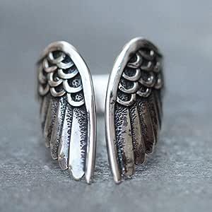 XINGSd - Anello con ali d'angelo in stile retrò, semplice e alla moda