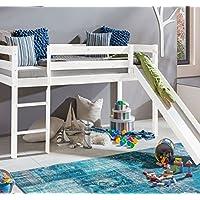 Preisvergleich für Kinderbett Hochbett mit rutsche Leiter Hochbett Spielbett Kiefer Massiv weiss oder Unbehandelt (Weiss)