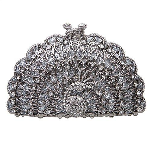 Bonjanvye Metallic Gorgeous Peacock Purse Animal Shape Evening Clutch Bag Navy Blue Silver