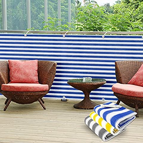 casa pura PVC Balcony Screening Cover, 90 x 500 cm - Blue/White | 3 Colours Available - Protective Screen