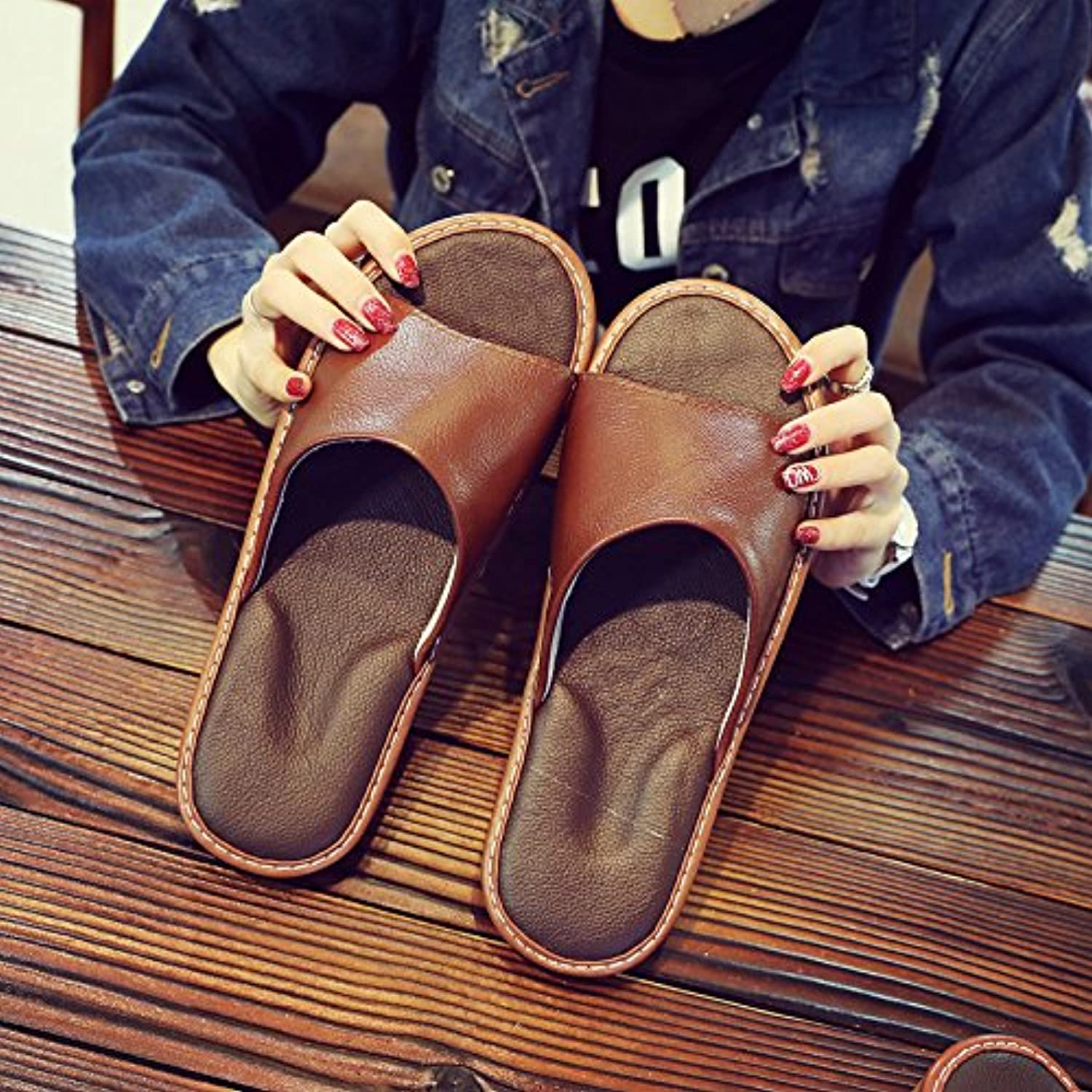 fankou Slippers Female Summer Home Home Interior Wooden Floor Men's Silent Couples Air Cool Slippers,35-36, Brown