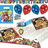 HHO Super Mario Party-Set 44tlg. Servietten Tischdecke Tüten Einladung Banner Luftballons für 8 Kids