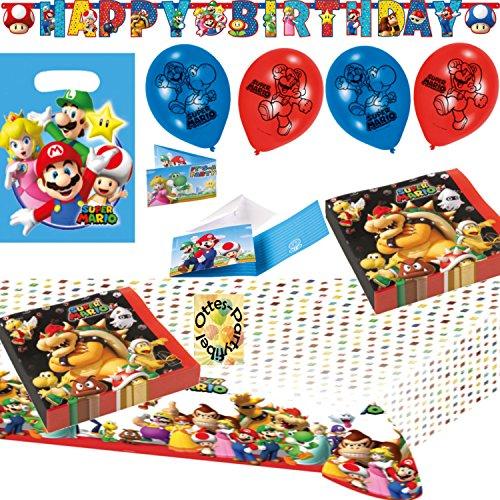 HHO Super Mario Party-Set 44tlg. Servietten Tischdecke Tüten Einladung Banner Luftballons für 8 ()