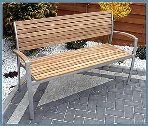 Exklusive Scancom Gartenbank aus Aluminium und Teak