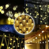 Lianqi Solar Powered Led Outdoor String Lights Crystal Ball 20 LEDs Fairy Strip Lights Warm White Decoration lights For Outside Garden Patio Party Christmas Festival activities