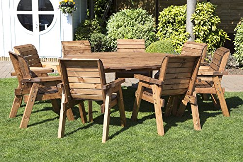 Round Wooden Garden Table and 8 Chairs Dining Set   Outdoor Patio Solid Wood  Garden Furniture. Wooden Garden Furniture Sets  Amazon co uk