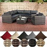CLP Polyrattan-Lounge TIBERA mit Stauraum | Gartenset bestehend aus einem Ecksofa, einem Sessel und einem Beistelltisch | Sitzgruppe für 7 Personen | In verschiedenen Farben erhältlich Rattanfarbe: Grau-meliert, Bezugsfarbe: Anthrazit