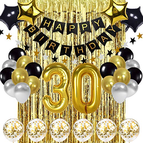 Black and Gold 30th Birthday Decorations and Balloons Set