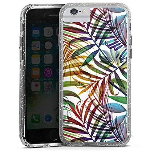 Apple iPhone 6s Plus Bumper Hülle Bumper Case Glitzer Hülle Palme Leaves Blaetter Bumper Case Glitzer silber