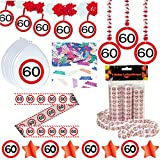 Deko Set 42 tlg. 60.Geburtstag Party Box Dekoration Glitter Girlande Luftballons