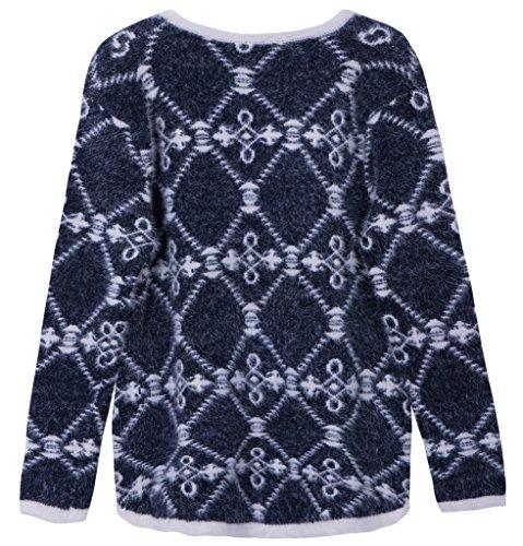Vogueearth Femme's Longue Manche Pattern Knit Crew Neck Top Pullover Sweater Chandail Tricots Foncé Bleu
