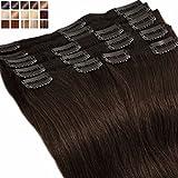 S-noilite® Extensiones de clip de pelo natural cabello humano #02 Marron oscuro - DOUBLE WEFT muy grueso - 100% Remy hair – 8 piezas 18 clips (40cm-130g)